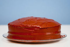 Homemade plain round chocolate cake royalty free stock images
