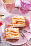 Homemade plum cale with meringue and caramel Stock Photo