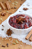Homemade plum chutney and spices Stock Images
