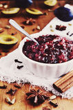 Homemade plum chutney and spices Royalty Free Stock Photography