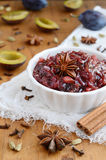 Homemade plum chutney topped with star anise Stock Images