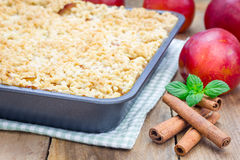 Homemade plum crumble pie Stock Images