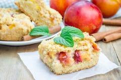 Homemade plum crumble pie, closeup Stock Photo