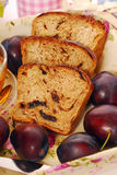 Homemade  plum and honey bread. Slices of homemade plum and honey bread for diet breakfast Royalty Free Stock Image