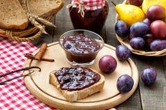 Homemade plum jam. Served for breakfast Royalty Free Stock Photography