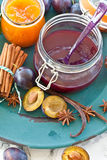 Homemade plum jam Royalty Free Stock Photo