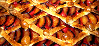 Homemade plum pie Stock Images