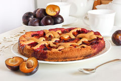 Homemade plum pie. With grid and fresh plums Royalty Free Stock Photos