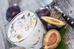 Homemade Plum Yogurt Royalty Free Stock Photo