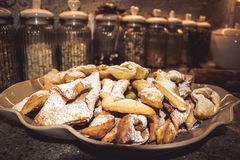 Homemade polish powdered cookies faworki, chrusty Stock Photo