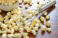 Homemade popcorn cooking stock images