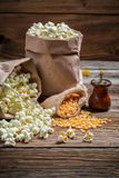 Homemade popcorn with salt Stock Photo