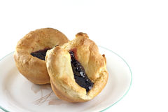 Homemade Popovers With Black Raspberry Jelly Royalty Free Stock Photos