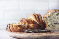 Free Homemade Poppy Seed Braided Bread . Wreath. National Pastries. Babka. Stock Image - 111849721