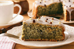 Homemade poppy seed cake and cup of coffee. Royalty Free Stock Photo