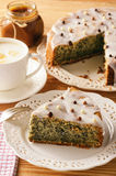 Homemade poppy seed cake and cup of coffee. Royalty Free Stock Image