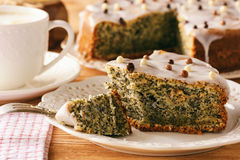 Homemade poppy seed cake and cup of coffee. Stock Images