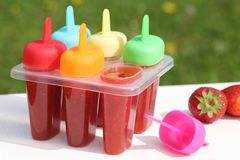 Homemade popsicles Stock Photos