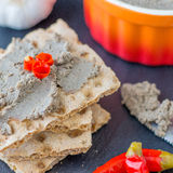 Homemade Pork Liver Pate. This homemade pâté is rich in flavor with a hint of mushrooms and red wine Stock Images