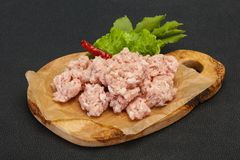 Homemade pork minced meat for cooking. Homemade pork minced meat ready for cooking stock photo