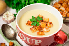 Homemade potato cream soup with croutons and parsley in red bowl on table Stock Images