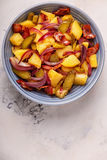 Homemade potato salad with bacon and pickles. stock images