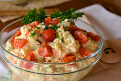 Homemade Potato Salad with Eggs and Pickles In Glass Bowl Royalty Free Stock Image