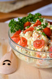 Homemade Potato Salad with Eggs and Pickles In Glass Bowl Stock Photos