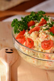 Homemade Potato Salad with Eggs and Pickles In Glass Bowl Stock Image