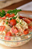 Homemade Potato Salad with Eggs and Pickles In Glass Bowl Stock Photography