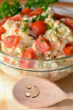 Homemade Potato Salad with Eggs and Pickles In Glass Bowl Stock Images