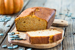 Homemade pound cake. Baked in a loaf pan on a wooden board Royalty Free Stock Photography
