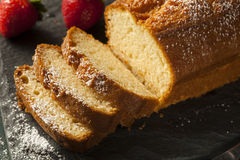 Homemade Pound Cake with Strawberries Stock Image
