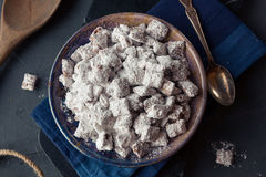 Homemade Powdered Sugar Puppy Chow. Muddy Buddies to Eat royalty free stock photos