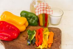 Preparation of pickles of organic peppers Stock Photography