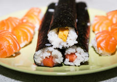 Homemade prepared traditional japan sushi Royalty Free Stock Photos