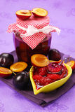 Homemade preserves of plums Royalty Free Stock Photo