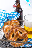 Homemade pretzels and beer Royalty Free Stock Photos