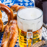 Homemade pretzels and beer Stock Photos
