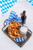 Homemade pretzels and beer Royalty Free Stock Images