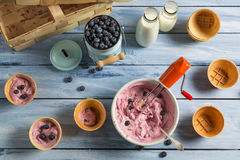 Homemade production line of blueberry ice cream Royalty Free Stock Image
