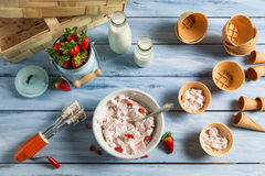Homemade production line of strawberry ice cream Stock Photography