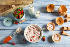 Homemade production line of strawberry ice cream Stock Images