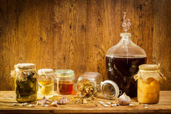 Homemade products in old basement stock photos
