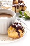 Homemade profiteroles with chocolate cream Royalty Free Stock Image