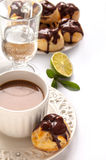 Homemade profiteroles with chocolate cream Royalty Free Stock Photography