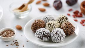 Protein energy balls vegan candy. Homemade protein vegan candy energy balls with seeds, dates, chocolate stock video footage