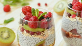 Homemade pudding chia with fruits stock video