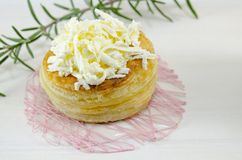 Homemade puff pastry with cheese and rosemary Stock Images