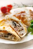 Homemade puff pastry with chicken and mushroom Royalty Free Stock Image
